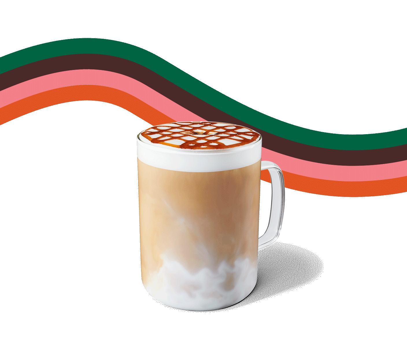 A hot macchiato topped with spiced apple drizzle sits atop a beige background featuring a graphic swirl.