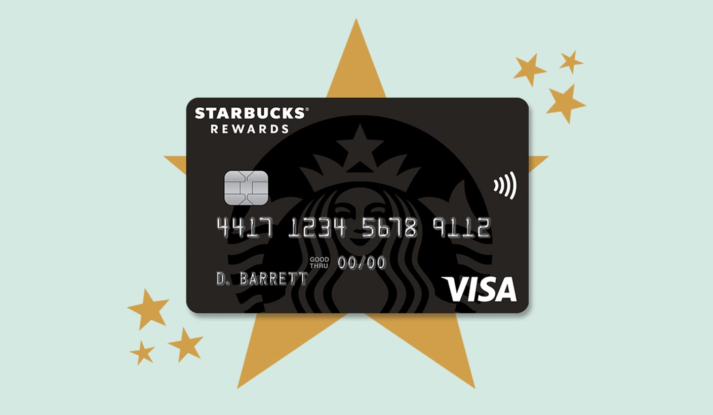 Starbucks® Rewards Visa® Credit Card in front of large gold star and smaller gold stars