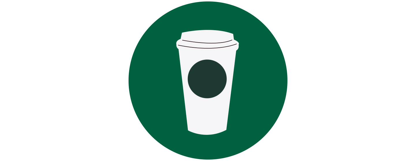 Illustration of a white to-go cup with a dot shape on its side