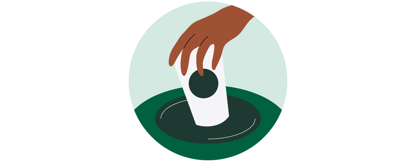 Illustration of a hand releasing a to-go cup into a waste receptacle