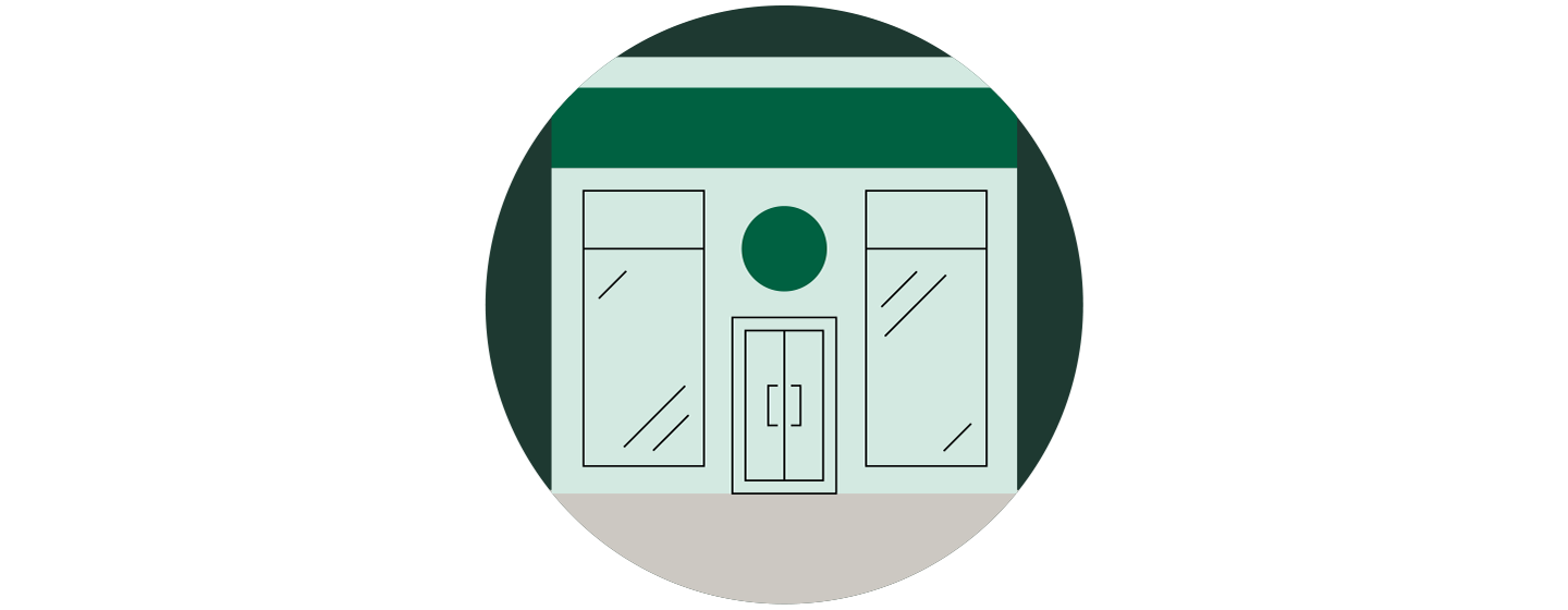 Minimalistic illustration of the front of a Starbucks store