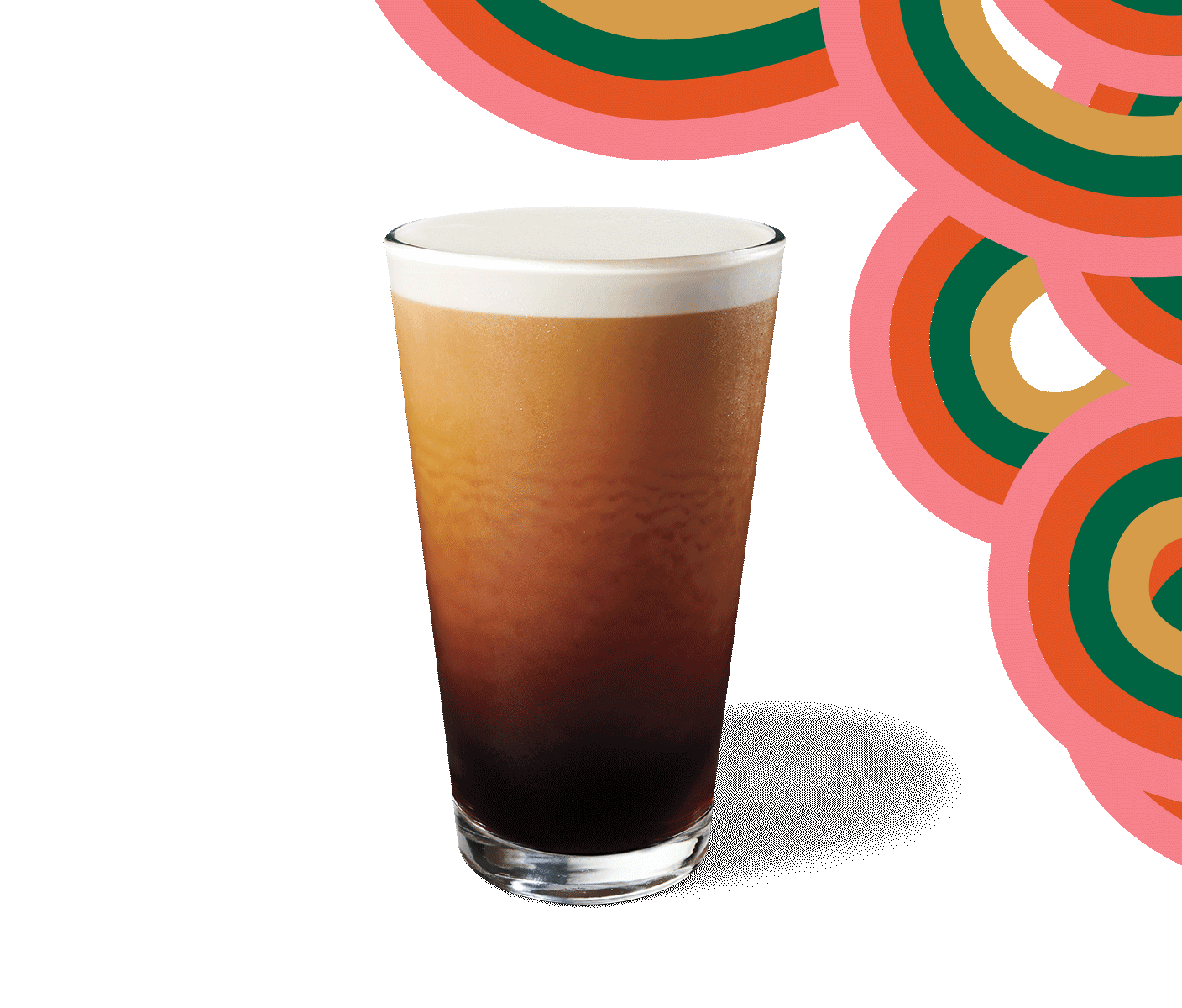 A Nitro Cold Brew sits atop a beige-colored background surrounded by graphic swirls.
