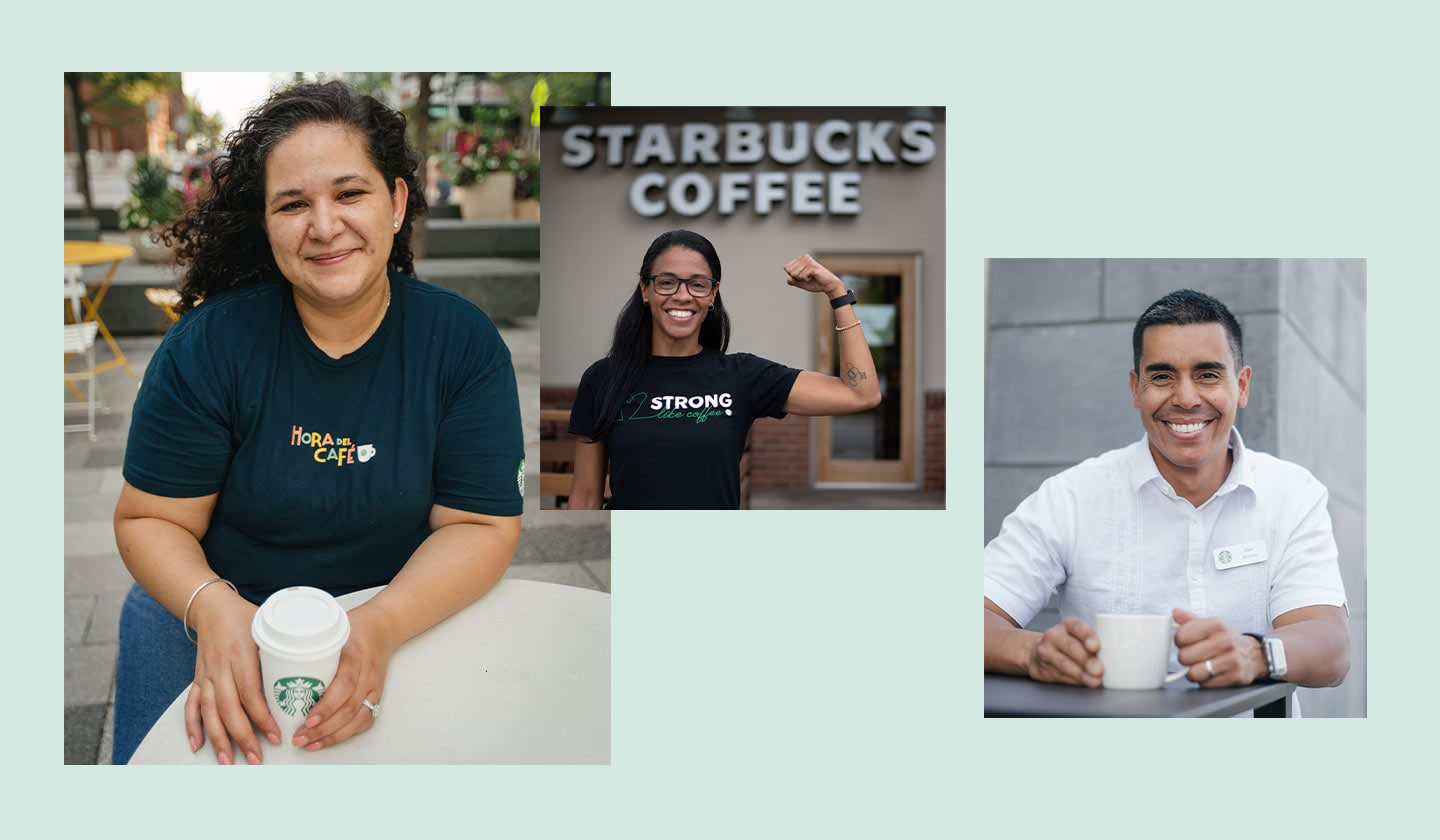 A collage of three different portraits of a Starbucks partner (employee), each featured in a their own photo, smiling to camera.