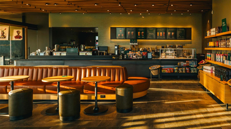 The interior of a Starbucks café