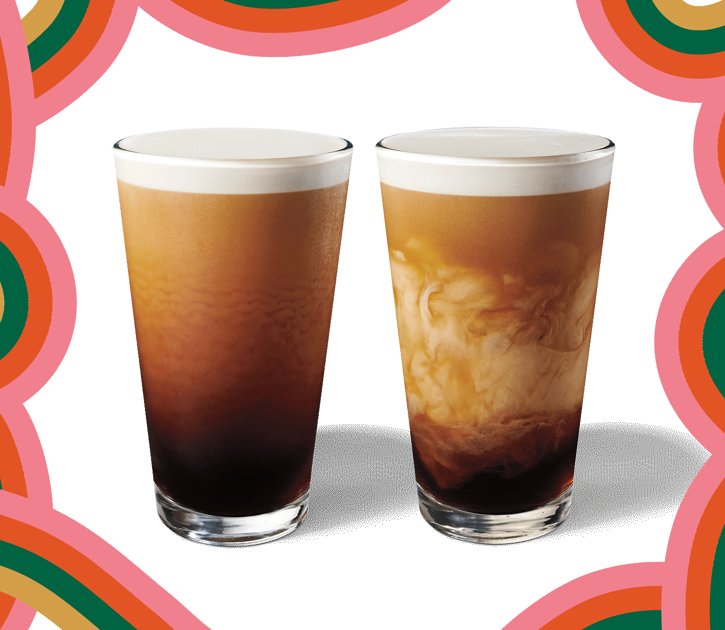 A Nitro Cold Brew sits next to an Nitro Cold Brew with Vanilla Sweet Cream in a fall swirl layout.