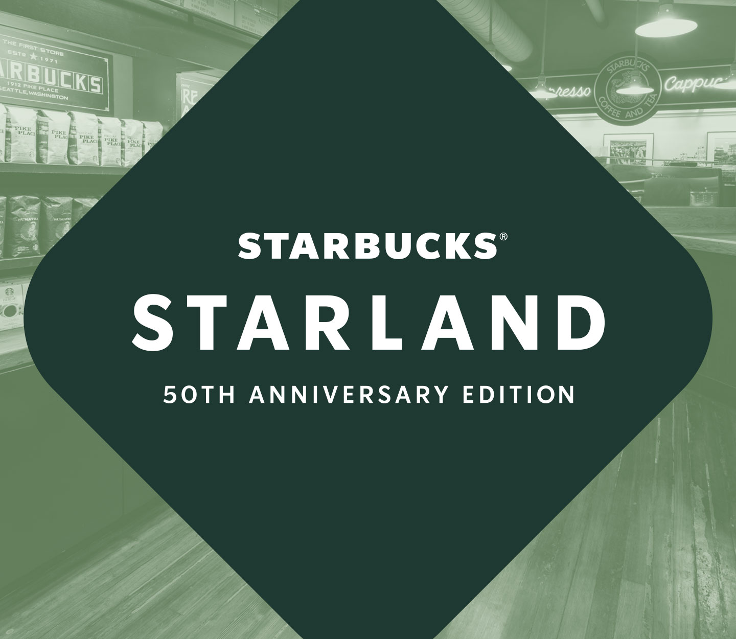 The words Starbucks® Starland: 50th Anniversary Edition inside a triangle shape overlays a photo displaying the interior of our Pike Place Market store.