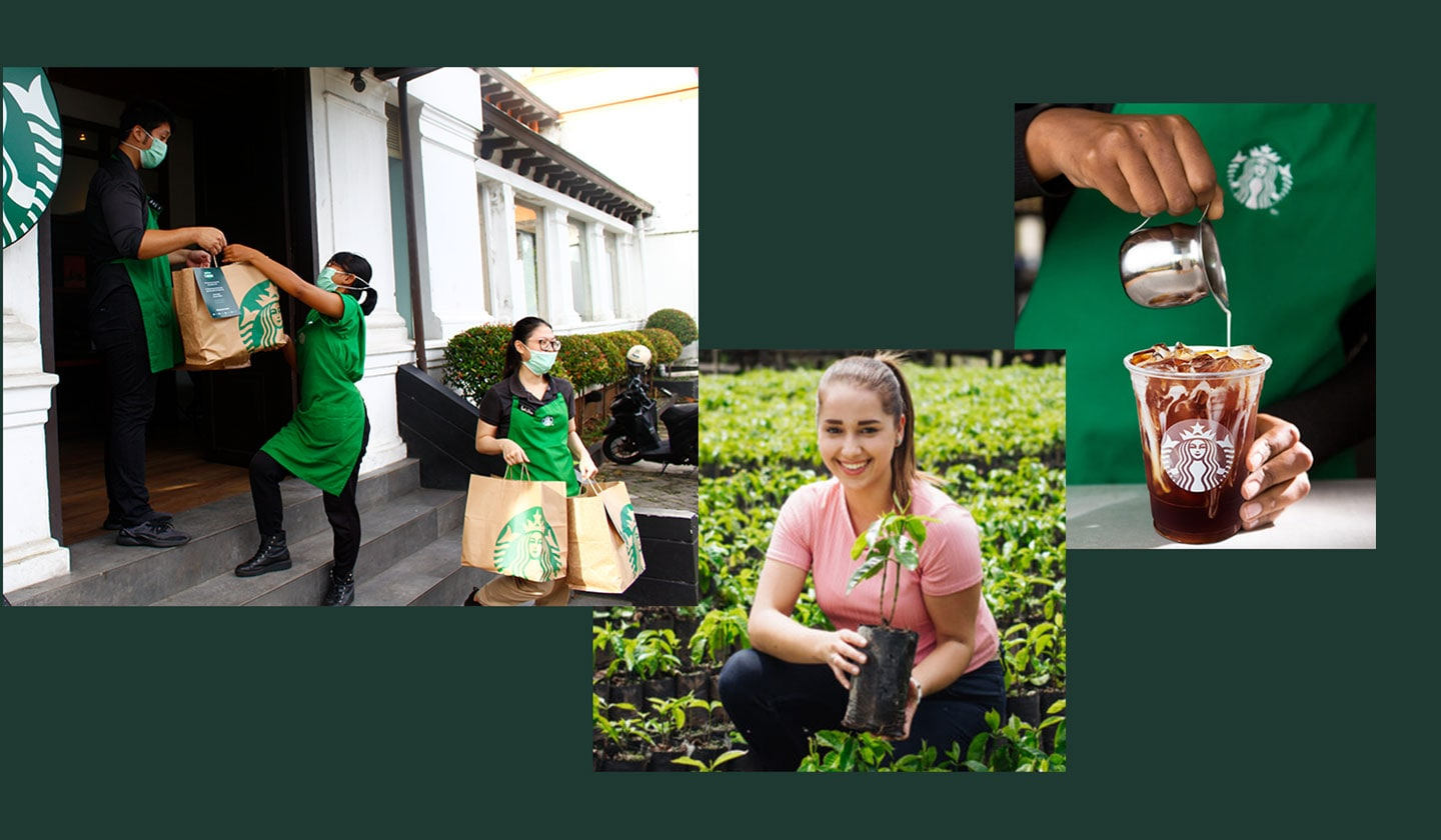A collage of three different photos: Starbucks partners (employees) donating Starbucks food, a coffee farmer smiling to camera, holding a small coffee plant, and a barista pouring cream into a cold brew.