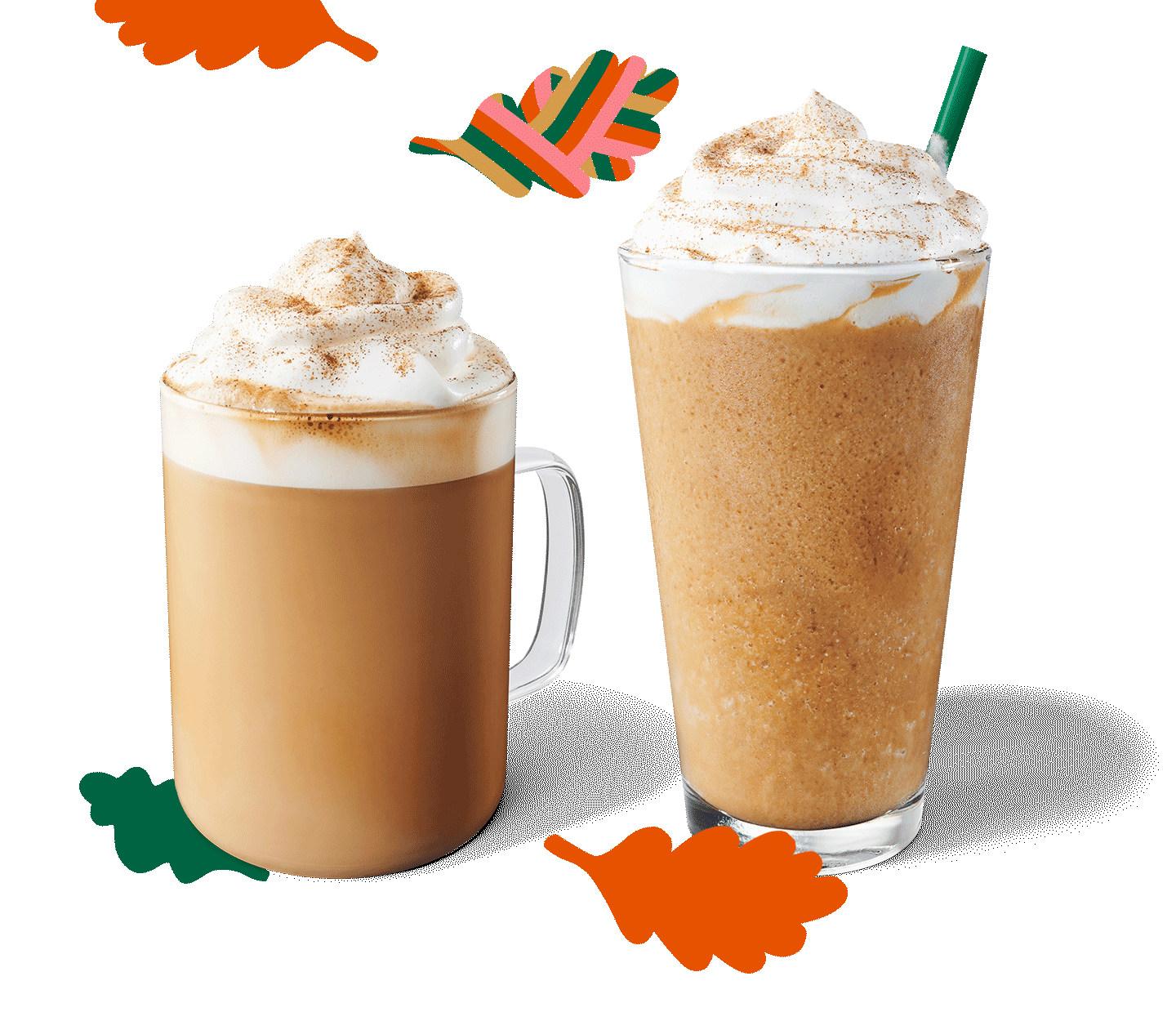 A Pumpkin Spice Frappuccino® blended beverage sits next to a Pumpkin Spice Latte in a layout with graphic, fall leaves.