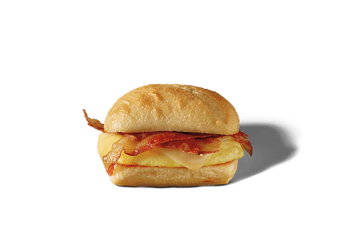 A bacon, gouda and egg breakfast sandwich