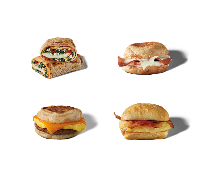 A variety of breakfast sandwich and wrap options