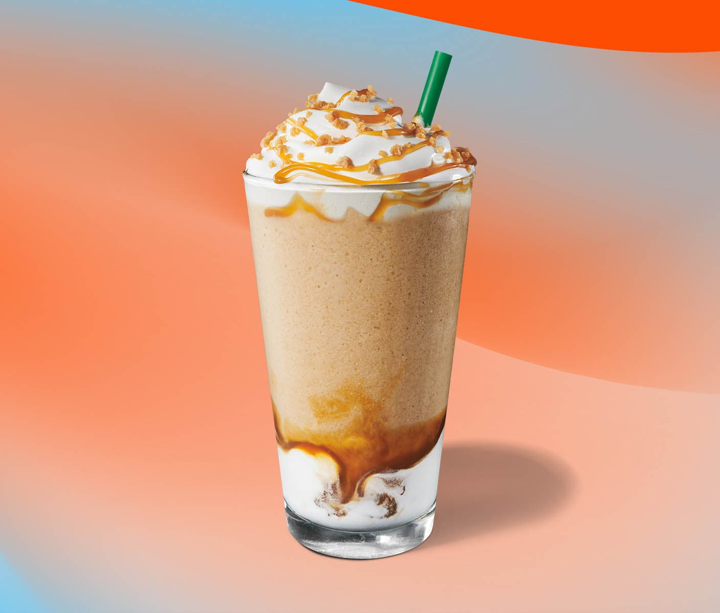 Blended beverage with caramel drizzle topping