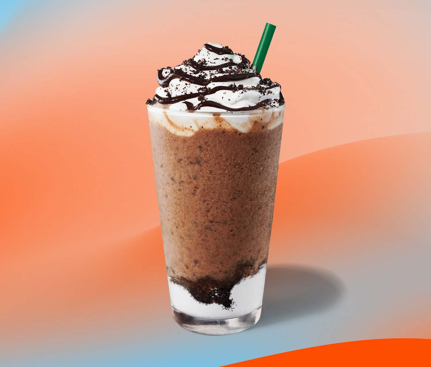 Blended coffee drink with whipped topping in a clear glass