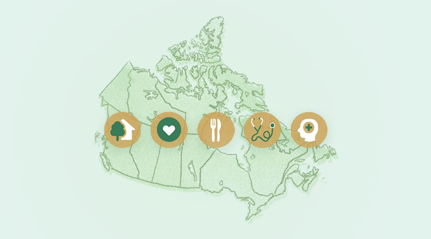 Icons representing homelessness, families, hunger, health care, and mental health are shown across a map of Canada.