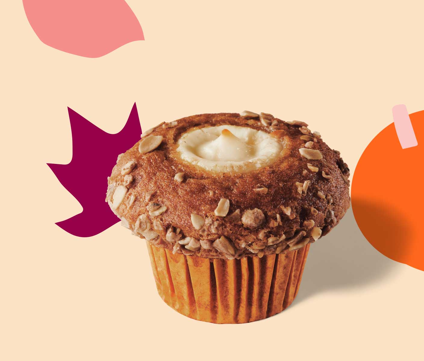 Muffin with cream cheese center.