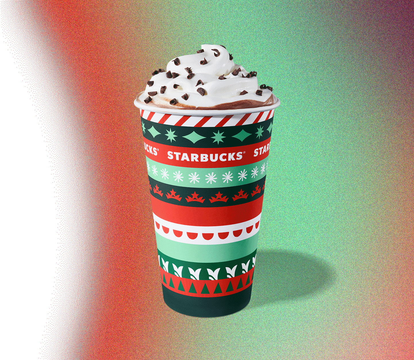 Peppermint Mocha in a holiday cup.