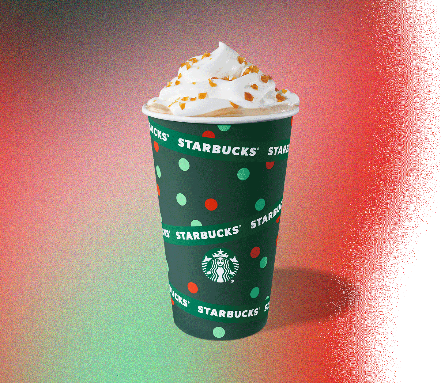A holiday cup filled with Caramel Brûlé Latte
