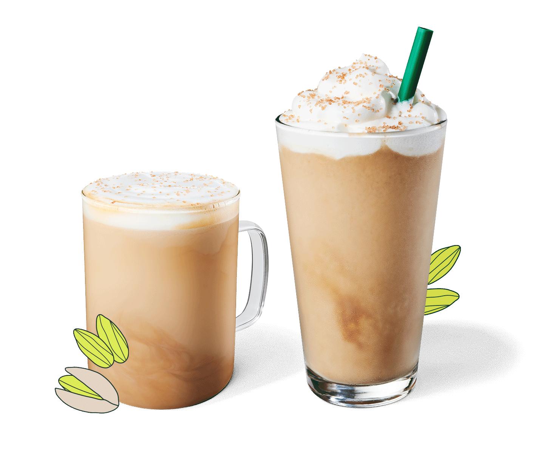 Pistachio Latte and Pistachio Frappuccino® blended beverage in glassware.