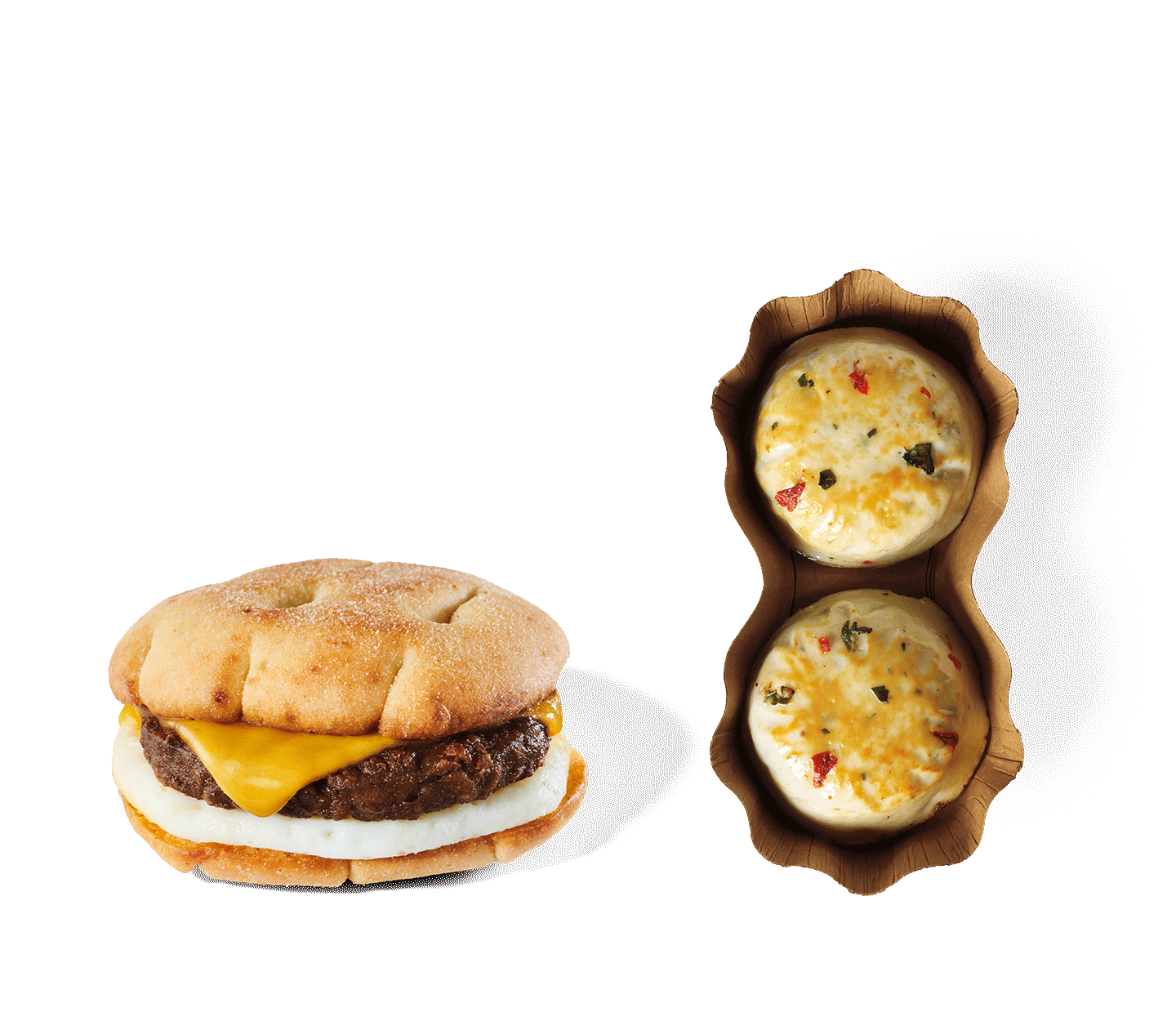 Beyond Meat®, Cheddar & Egg Sandwich and Egg White & Roasted Red Pepper Sous Vide Egg Bites.
