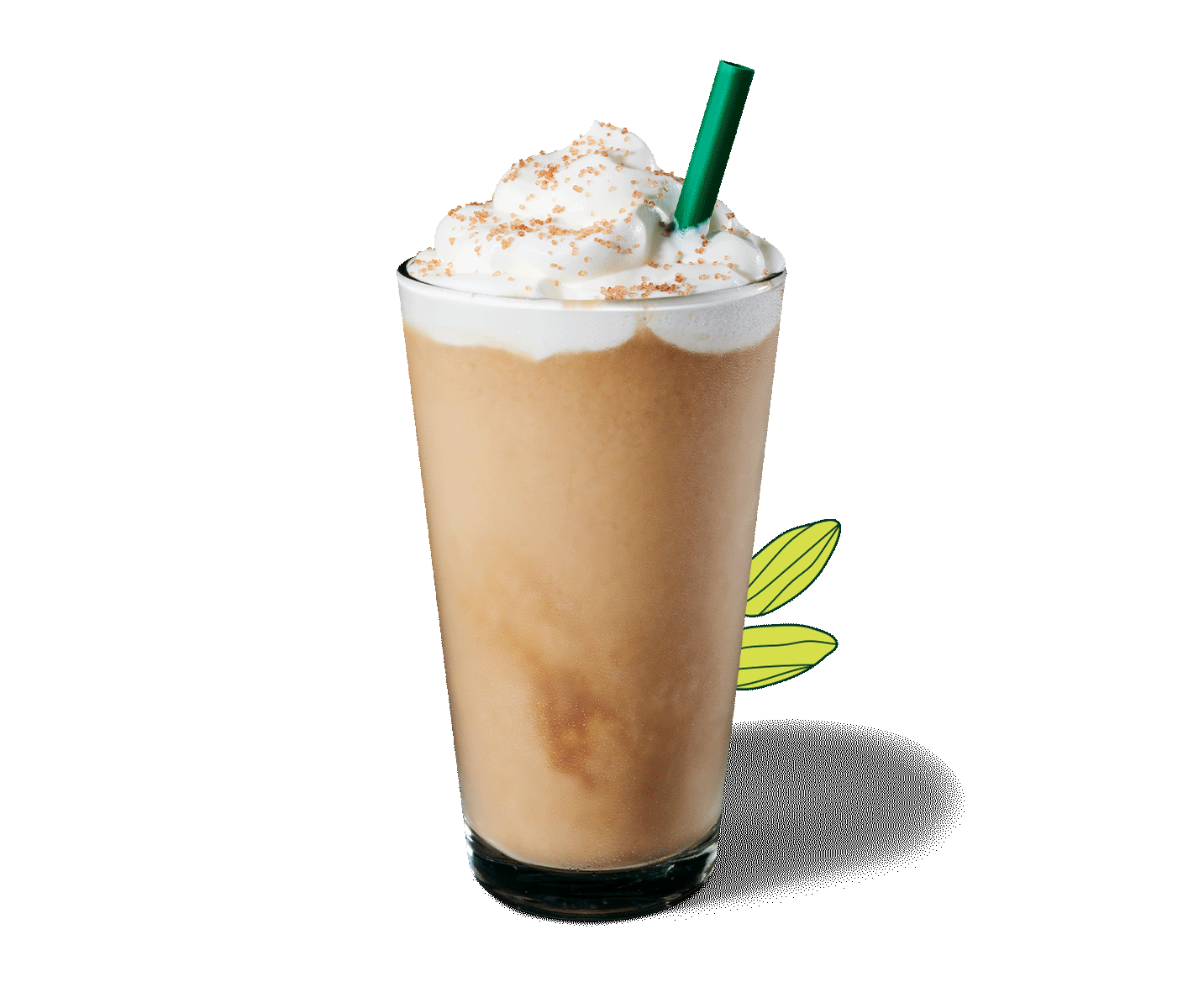 Pistachio Frappuccino® blended beverage in a glass with a straw.