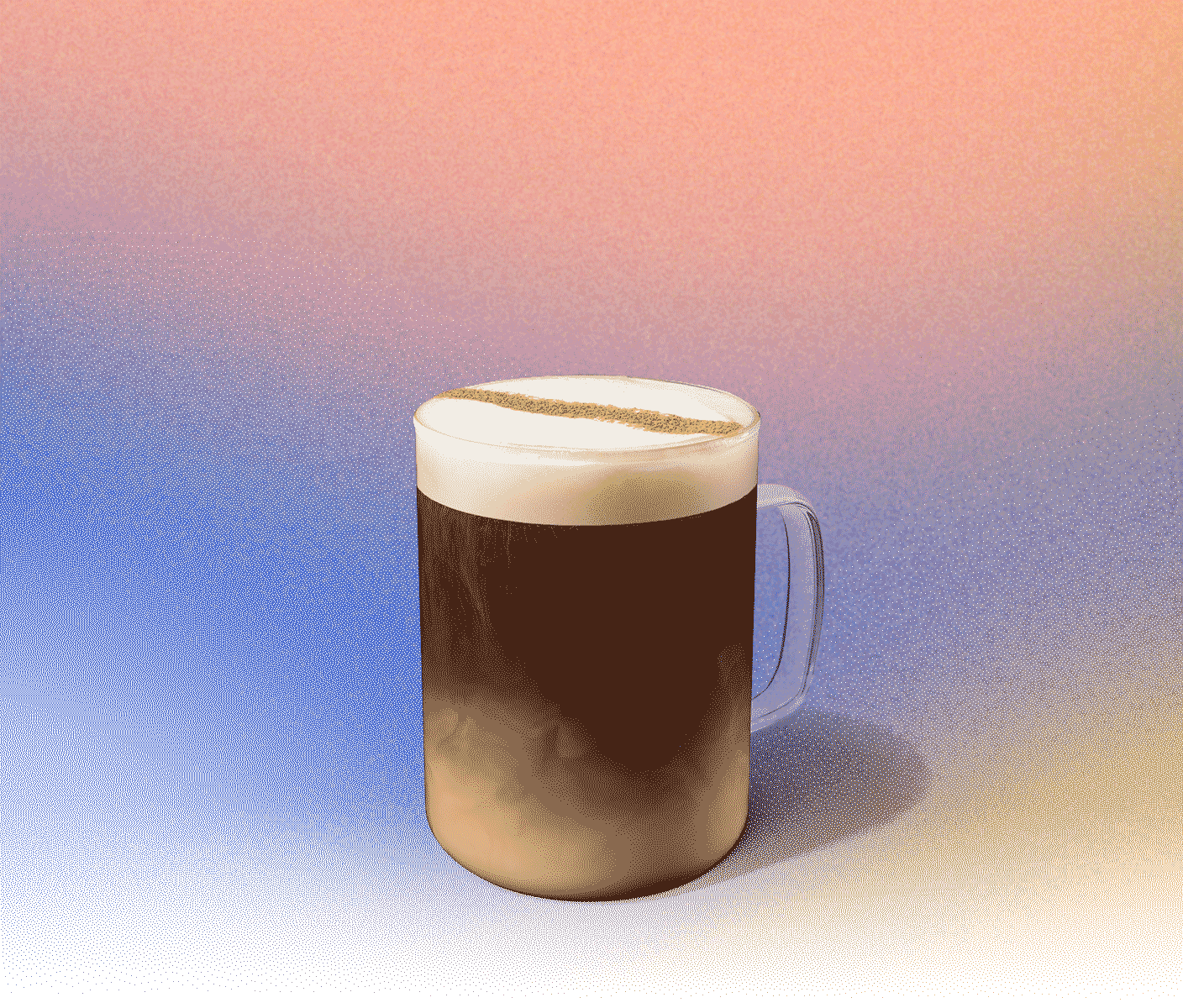 Hot coffee in a glass mug with foamy top