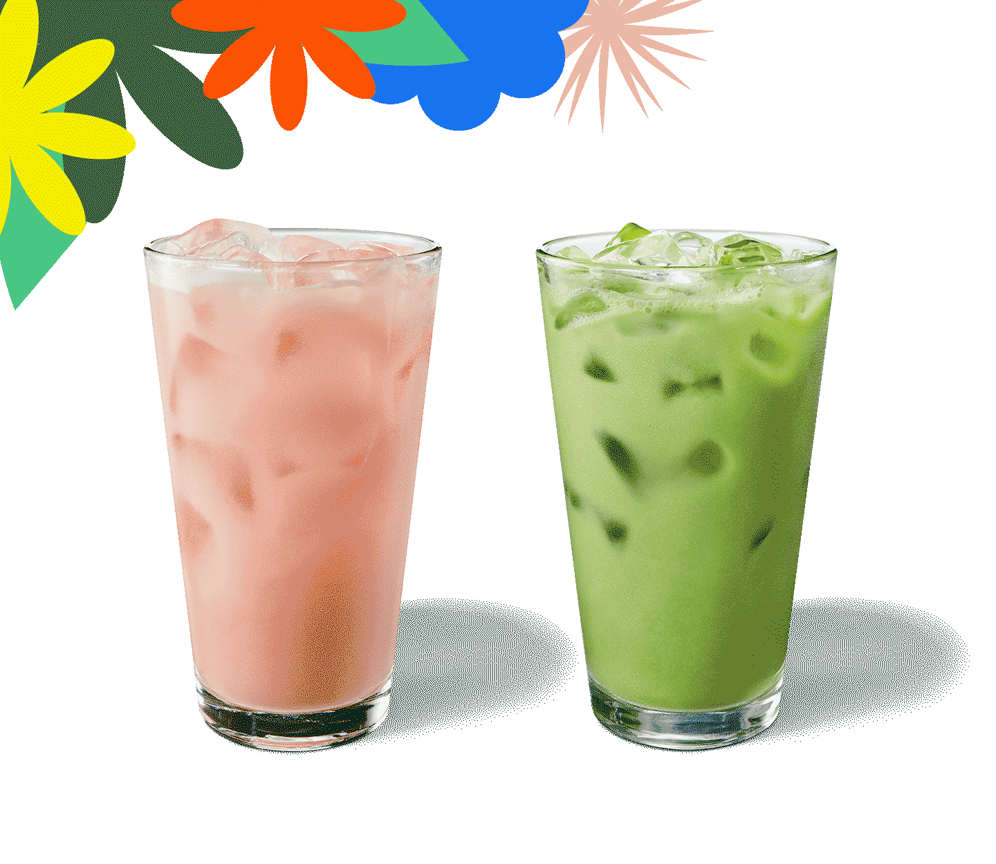 Two colourful iced drinks in glasses sit side by side