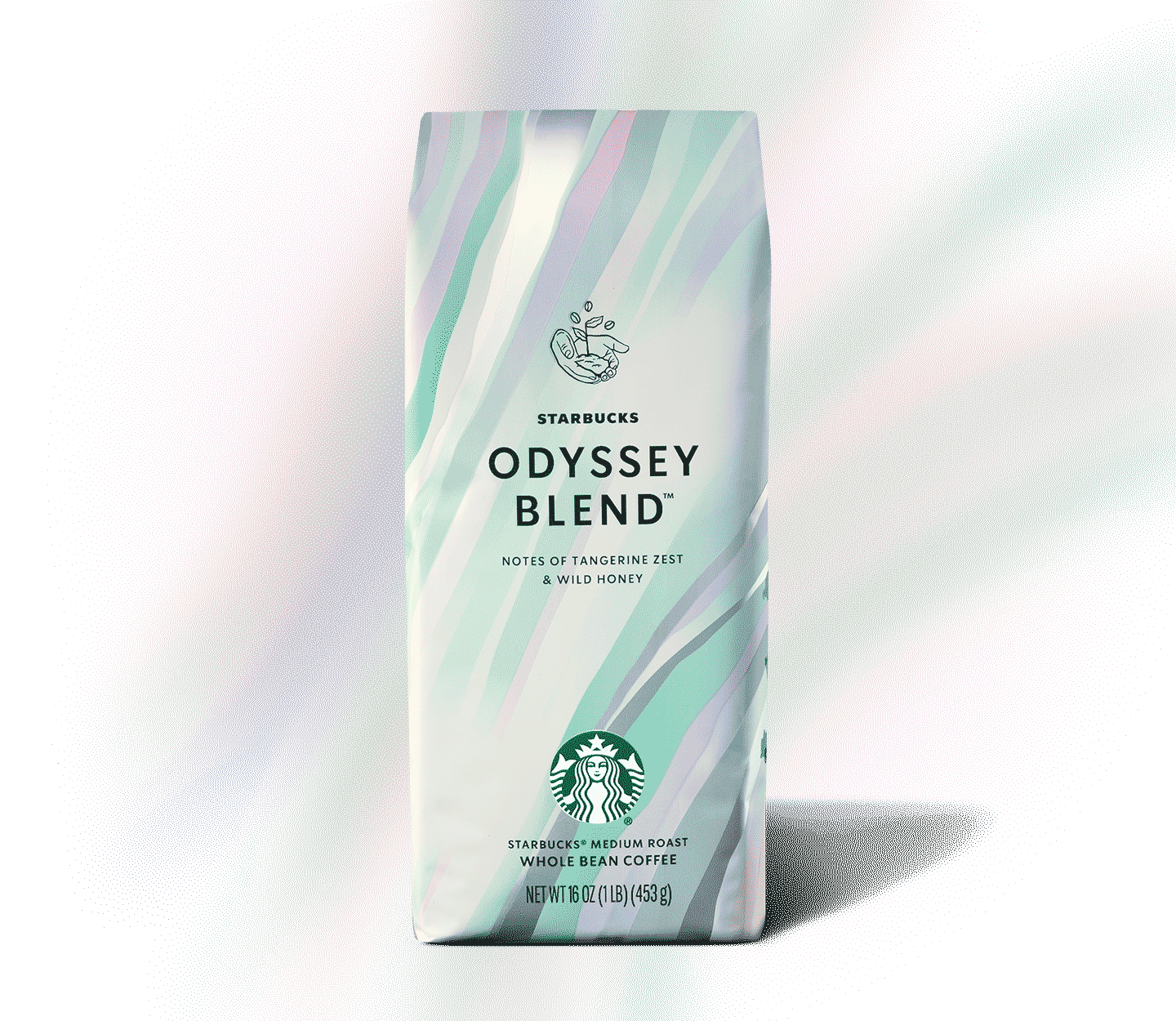 A shimmery bag of coffee standing upright