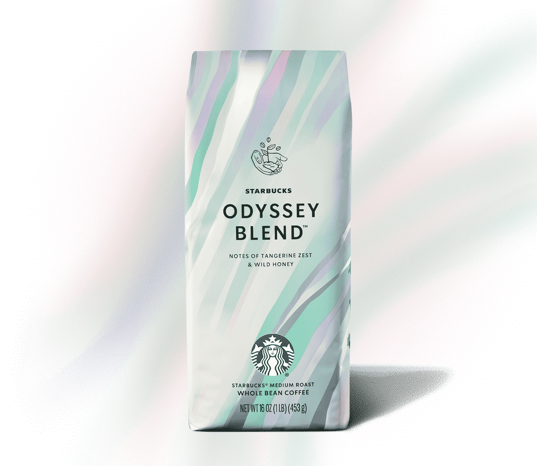 Shimmering bag of Odyssey Blend coffee
