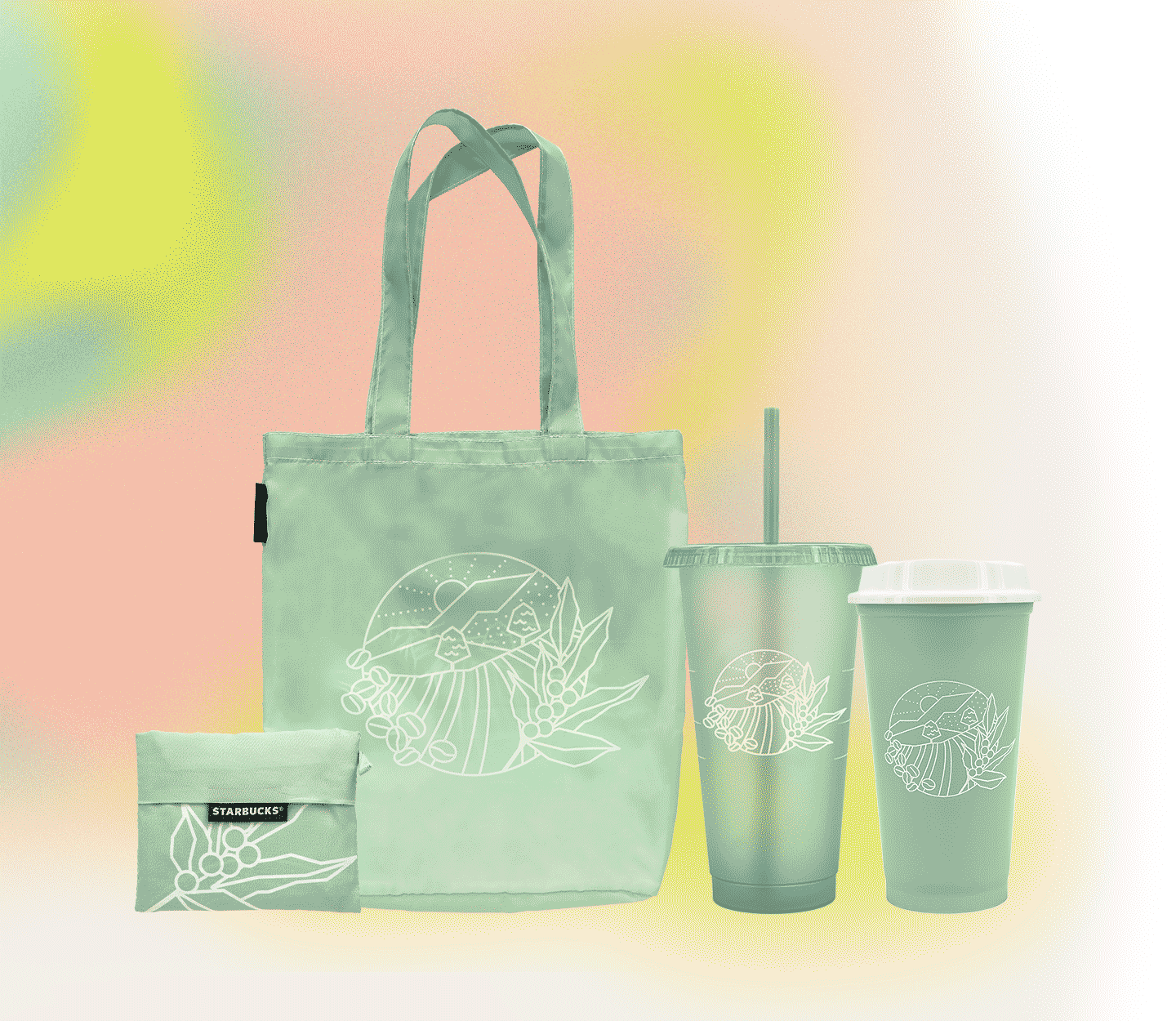 Light-green tinted tote bag, cup and tumbler