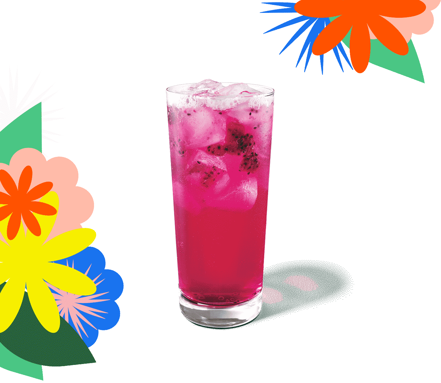 A bright pink beverage with dragonfruit pieces in a tall, thin glass.