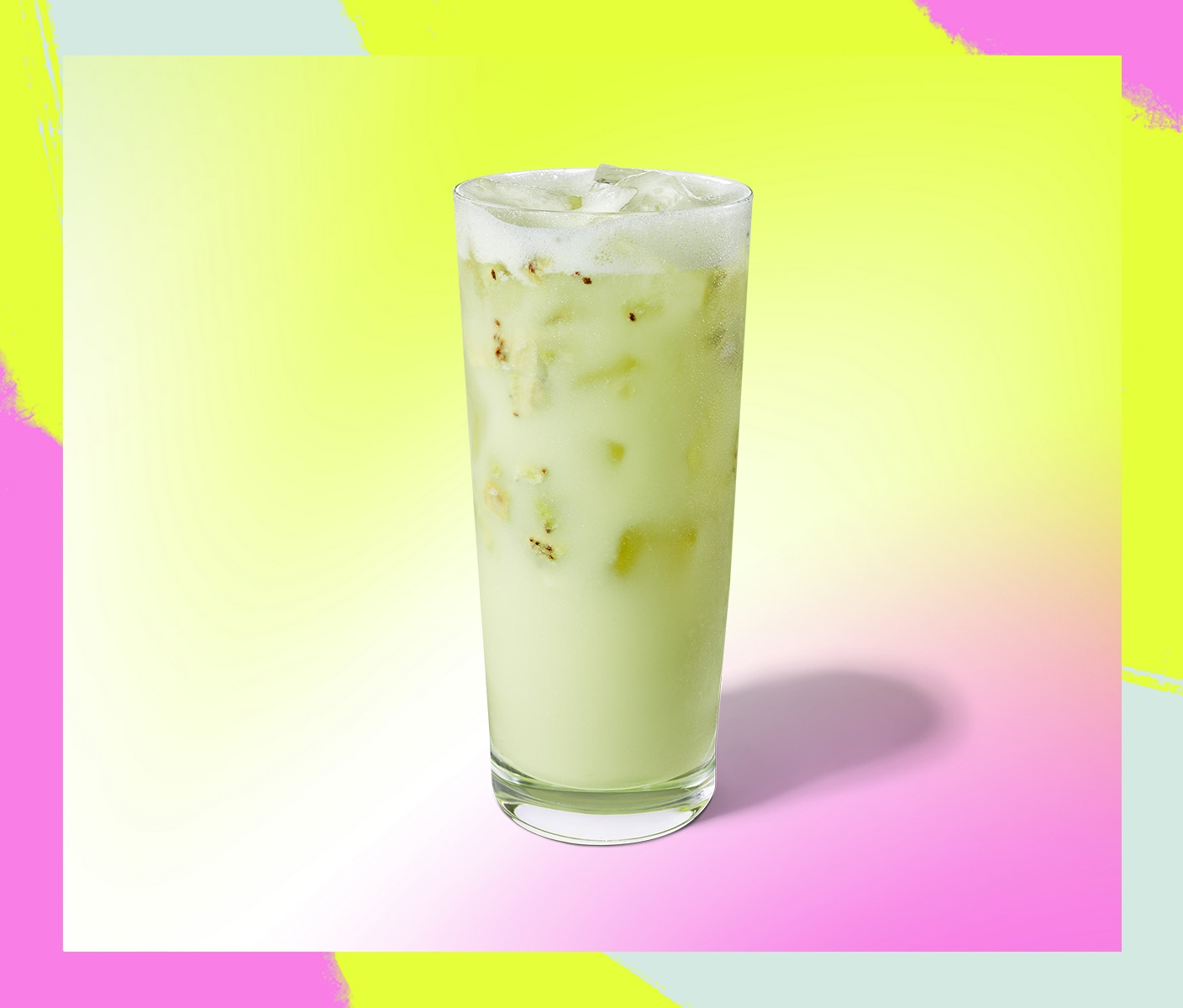 Light-green iced beverage in a glass.