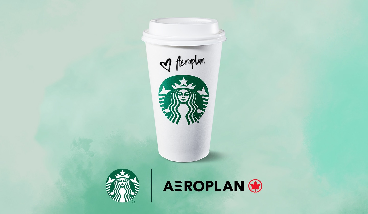 A tall Starbucks hot cup with lid with the customer name Aeroplan.