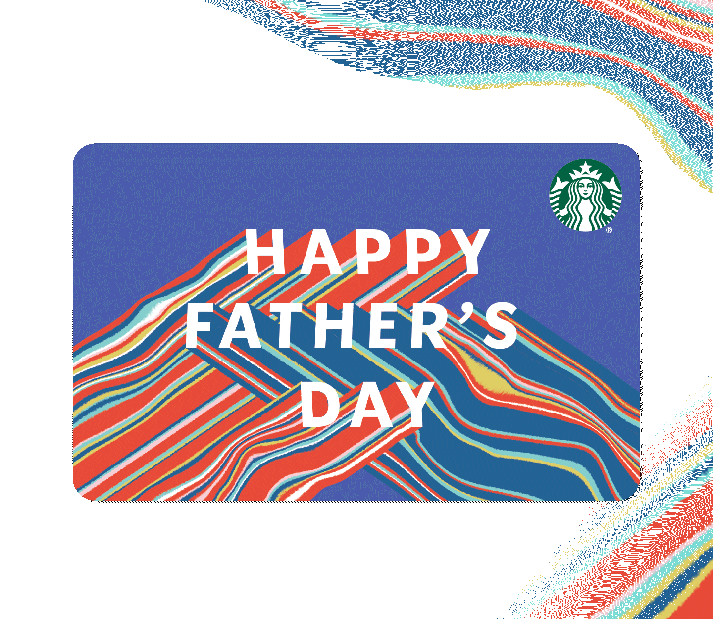 """Gift card with """"Happy Father's Day"""" in white type against a blue background."""