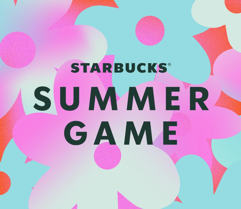 Starbucks® Summer Game logo on a multi-coloured floral background.