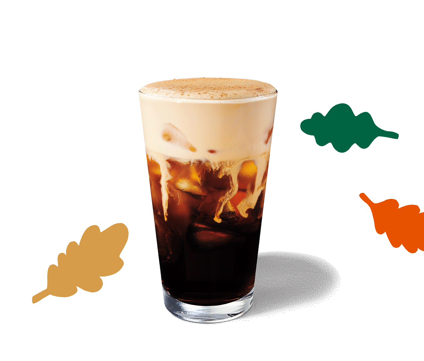 A Pumpkin Cream Cold Brew sits in a layout with graphic, fall leaves.