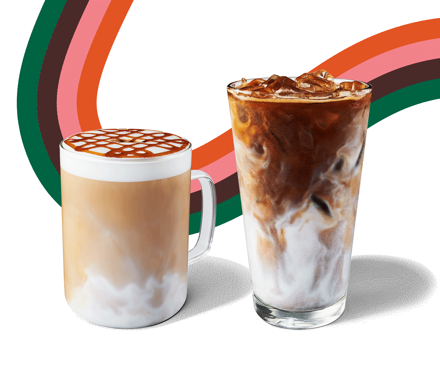 A hot macchiato topped with spiced apple drizzle sits next to an iced macchiato in a fall swirl layout.