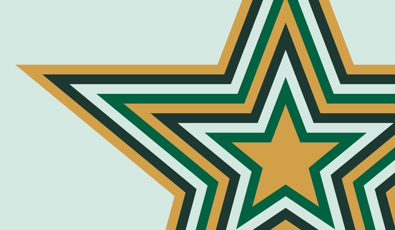 Illustrative radiating Starbucks Rewards star.