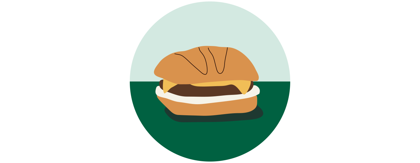 Illustration of a meatless sandwich sitting on a dark green surface