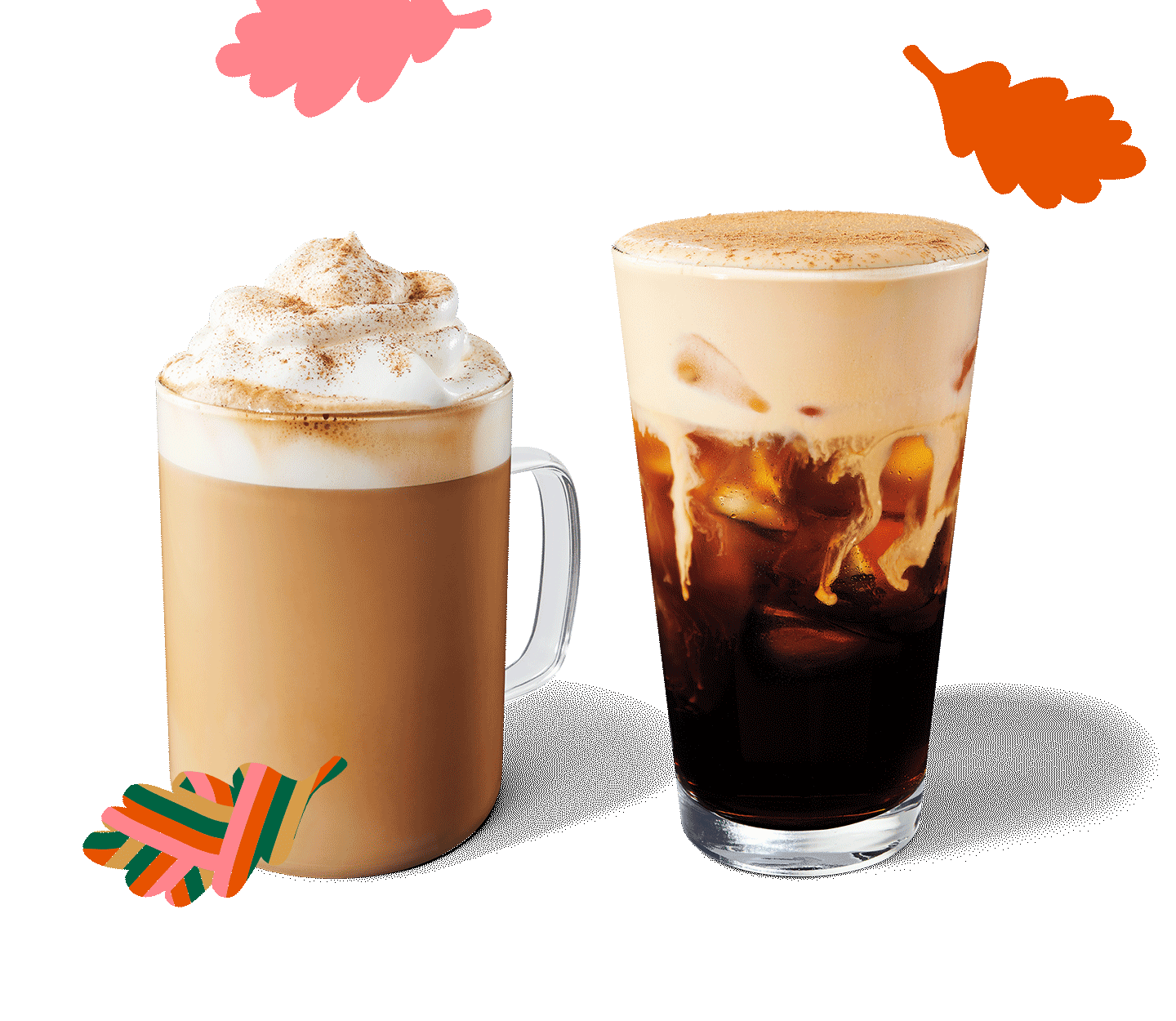 A Pumpkin Cream Cold Brew sits next to a Pumpkin Spice Latte in a layout with graphic, fall leaves.