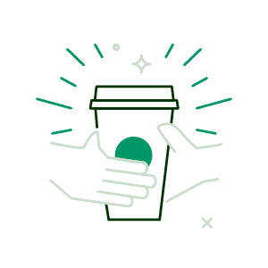 handing a coffee cup to someone icon