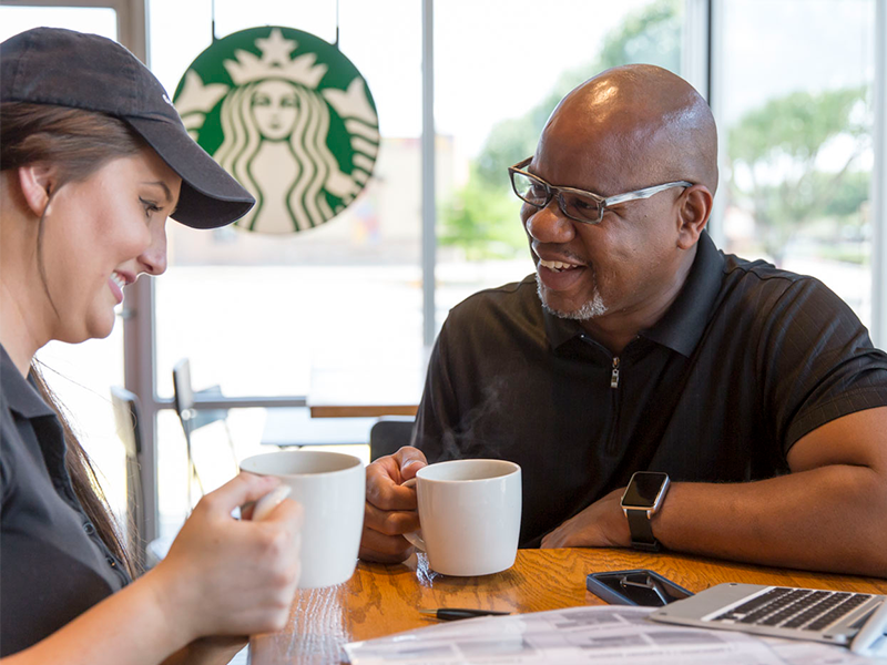 District manager meeting with barista partner