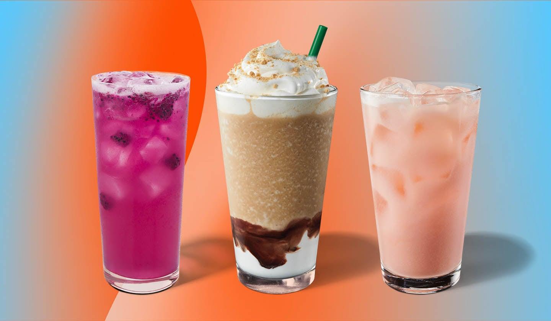 Trois boissons glacées alignées côte-à-côte dans des grands verre