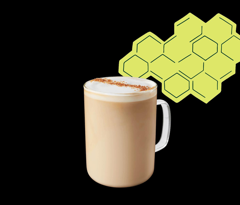 Latte miel et avoine dans une tasse en verre.