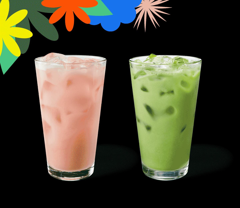 Deux boissons glacées colorées dans des verres, côte à côte.