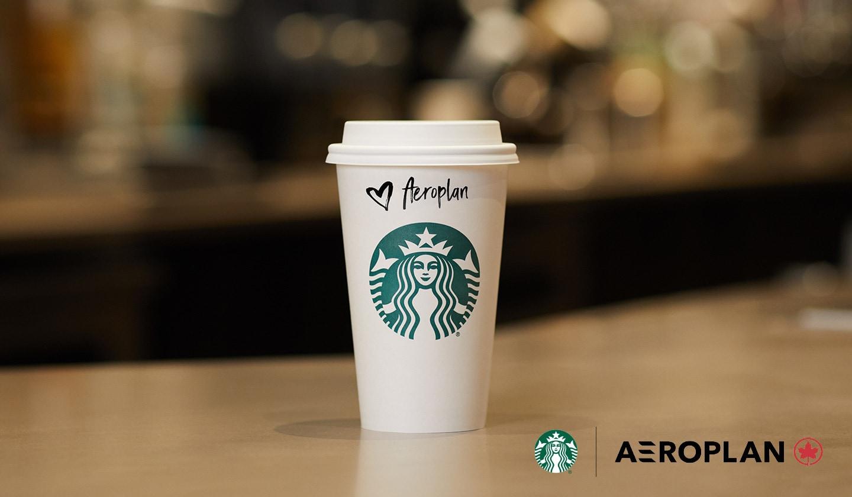 Une tasse Starbucks format Mezzo avec un couvercle posée sur le bar du café et qui attend son client. Le nom du client sur la tasse est Aéroplan.