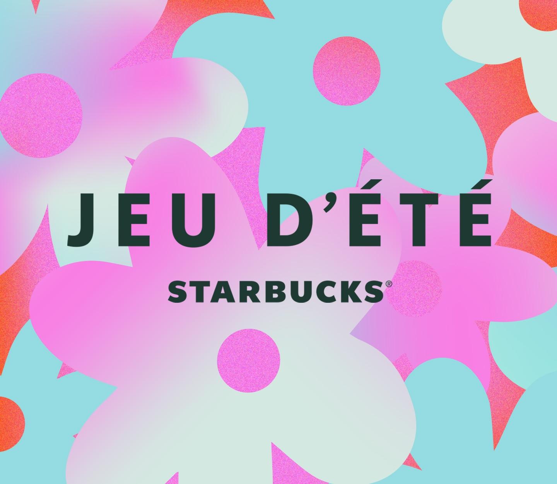 Logo Jeu d'été Starbucks® sur fond floral aux couleurs multiples.