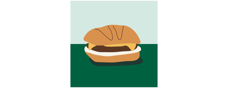 Illustration d'un sandwich sans viande sur une surface vert foncé