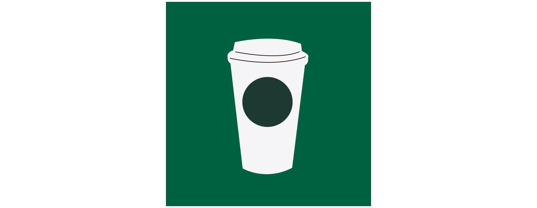 Illustration d'une tasse blanche pour emporter avec un motif de cercle sur le côté