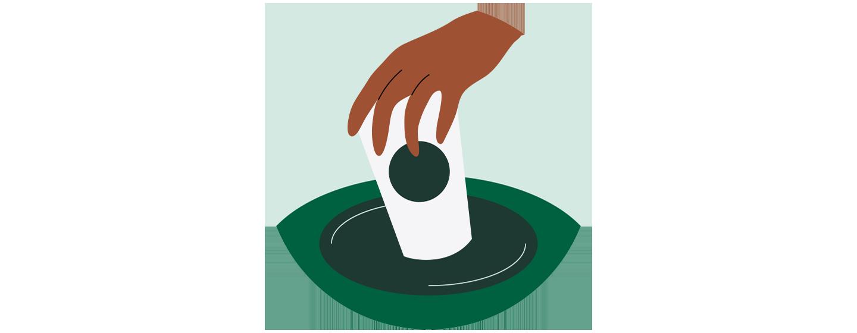 Illustration d'une main qui dépose une tasse pour emporter dans un conteneur à déchets