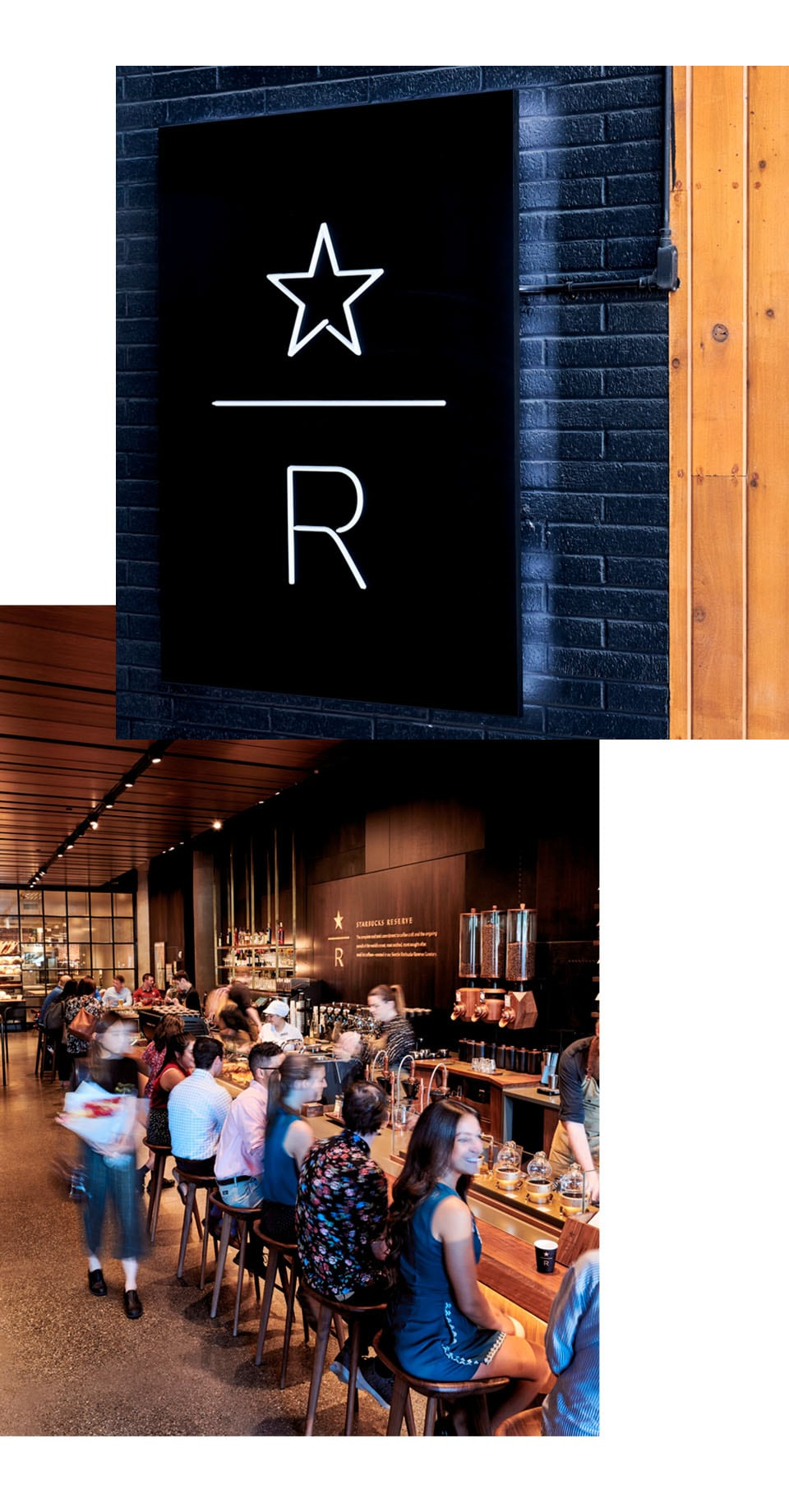 Collage with closeup image of Starbucks Reserve logo on a tiled wall and a dozen people sitting at a counter in an interior space