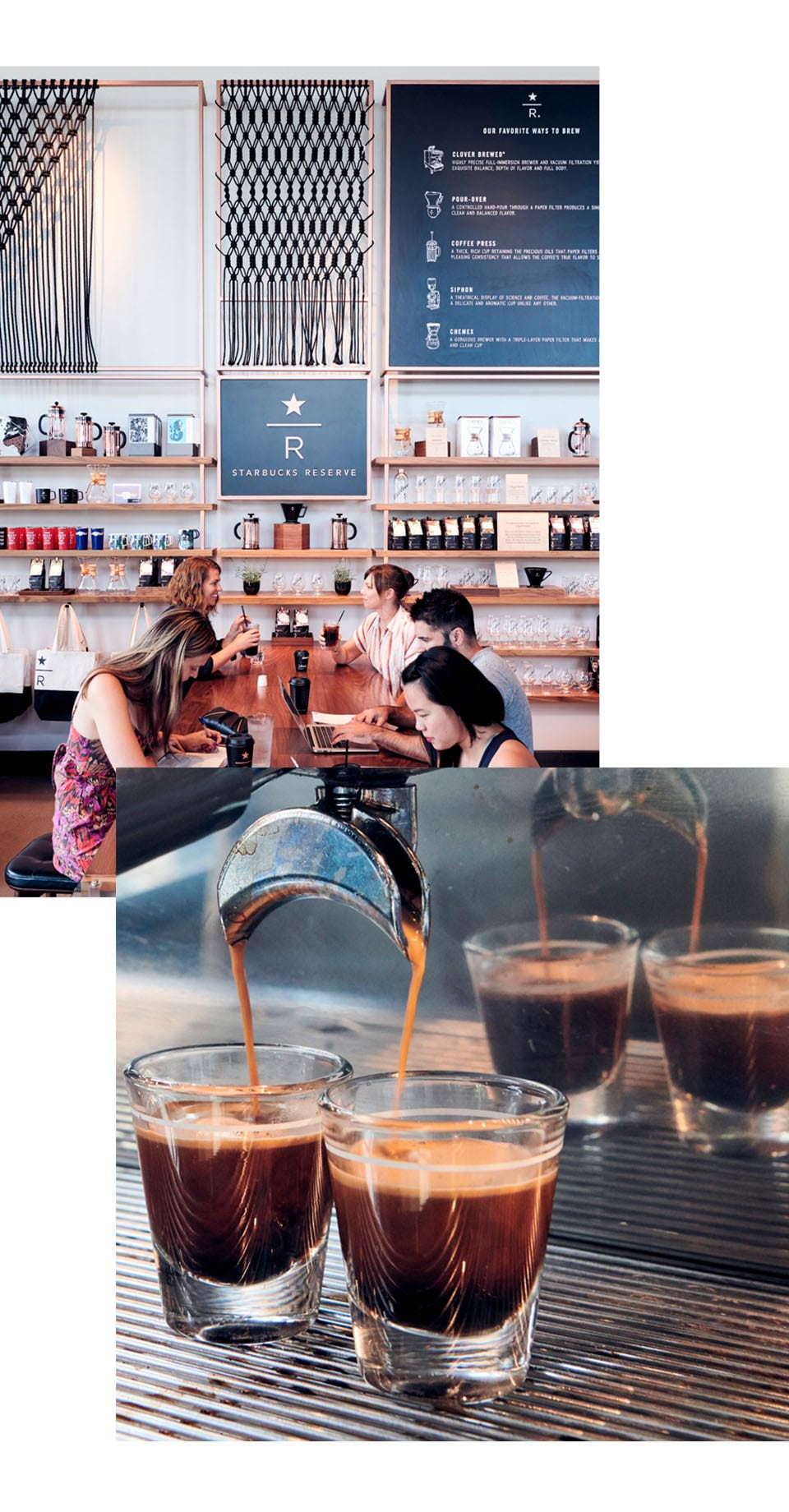 Collage with closeup of espresso machine and people concentrating on individual activities while sitting at a communal table